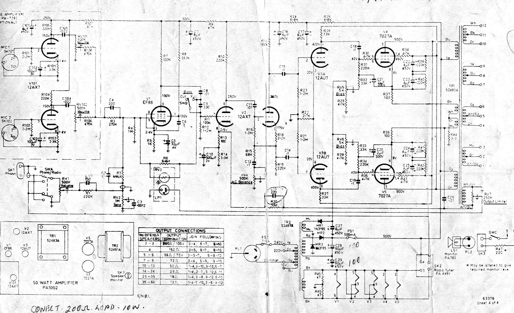 Awa Includes Thorn 50 W Transistor Amplifier 1002 50w